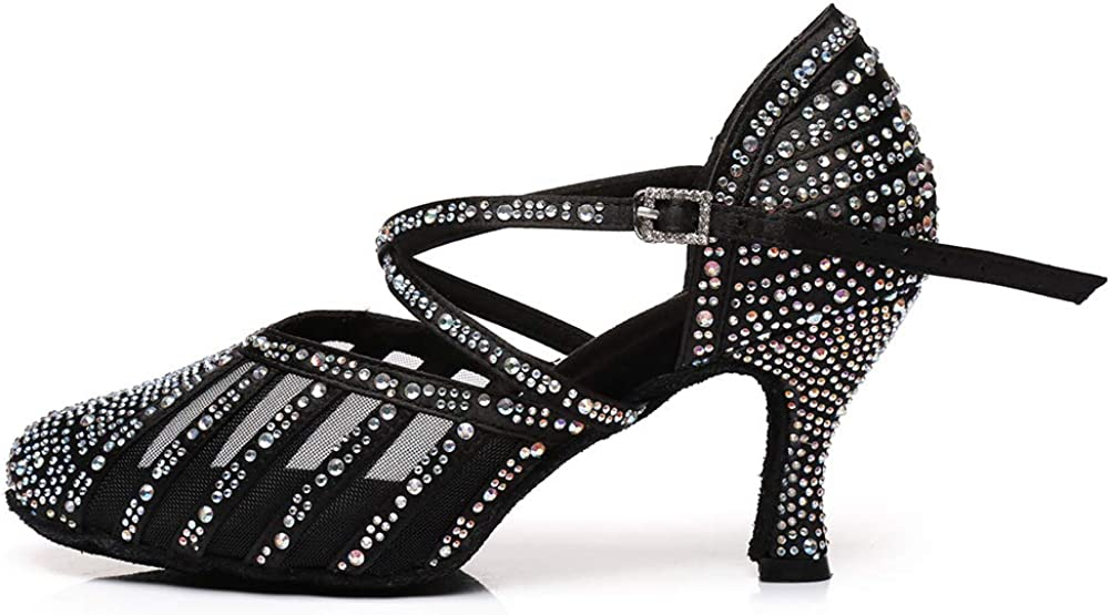 HROYL Women & Girls New Satin Ballroom Dance Shoes Rhinestones Latin Salsa Performance Weding Dance Shoes ZU-YCL403