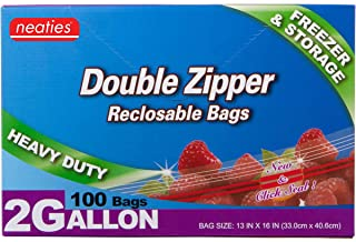 """Neaties Heavy Duty 2 Gallon Double Zip Lock Bags for Kitchen or Storage, 13""""x16"""", 100pcs"""