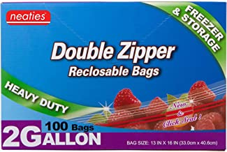 "Neaties Heavy Duty 2 Gallon Double Zip Lock Bags for Kitchen or Storage, 13""x16"", 100pcs"