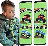 HECKBO® 2x Auto Gurtschutz mit Monster Trucks - Sicherheitsgurt Schulterpolster Schulterkissen Gurtschoner Autositze Gurtpolster für Kinder, Jungen Jungs - schützt vor Einschneiden des Gurtes