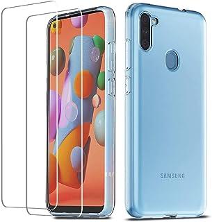 QHOHQ Case Compatibel met Samsung Galaxy A11, met [2 stuks pantserglas beschermfolie], ultradunne siliconen TPU anti-kras ...