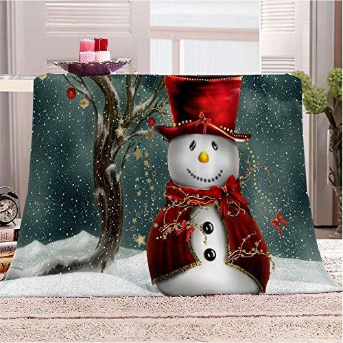 QMGLBG Manta de Franela de impresión 3D Muñeco de Nieve Rojo para niños Adultos, Manta súper Suave para Dormitorio, Sala de Estar, decoración de Pared, sofá, Cama, artículos de viaje-180cm * 240cm