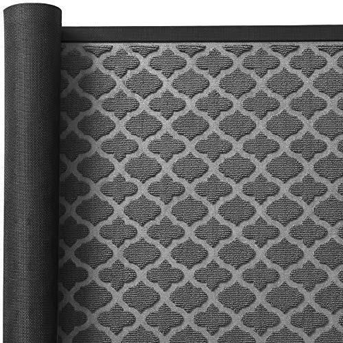 Color&Geometry Outdoor Mat, Non-Slip Low Profile Waterproof Durable Small Rubber Door Mat, Easy Clean, Entry Mat for Farmhouse, Patio, Laundry Room Grey 24X35