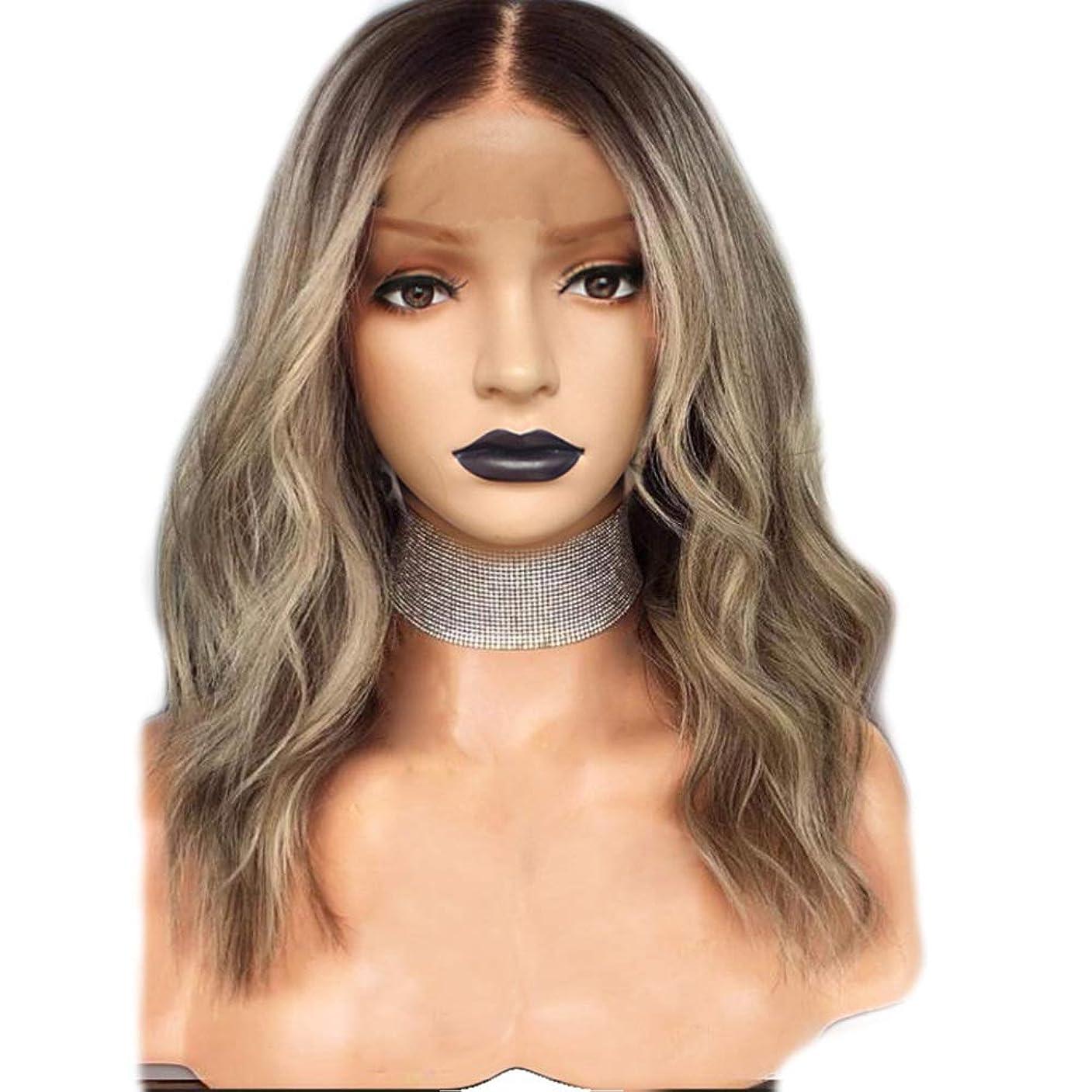 著作権配置机ZXF ヨーロッパとアメリカの化学繊維かつら女性18インチリネングラデーションカラー長い小さな巻き毛の前部絹のかつらエレガントな女の子 美しい