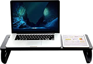Executive Monitor Stand Riser & Computer Desk Laptop Organizer - for Home, Desktop, Screen, TV, Tablet, iMac Office Storage Table (Black)