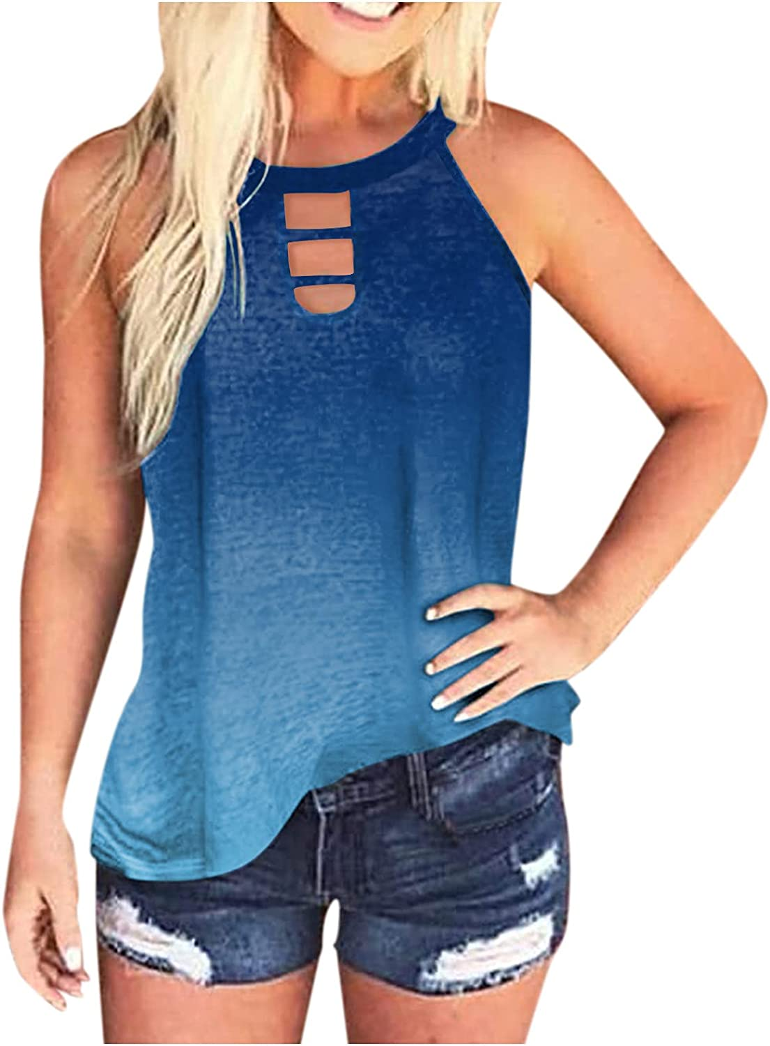 Eduavar Summer Tank Tops for Women,Womens Fashion Gardient Printed Sleeveless Vest Tank Tops Casual Loose Shirts Blouses