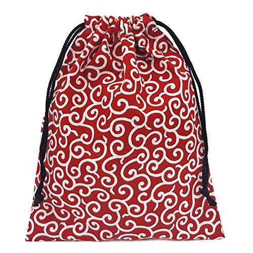 『巾着袋 小 和柄 赤×唐草模様 ハンドメイド 日本製』の1枚目の画像