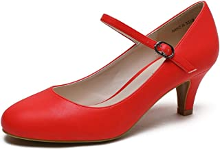 CAMSSOO Women's Closed Toe Low Mid Heel Ankle Strap Dress Pump Shoes