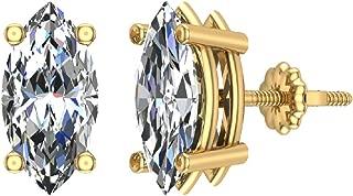 14K Gold Diamond Stud Earrings Marquise Cut Earth-mined (G,SI)
