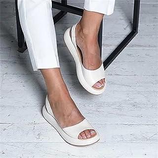 UULIKE Femmes Sandales Ete Plates,Loisirs Poisson Bouche Pantoufles,Mules Chausson Vintage,Chaussures d'été Confort Antidé...