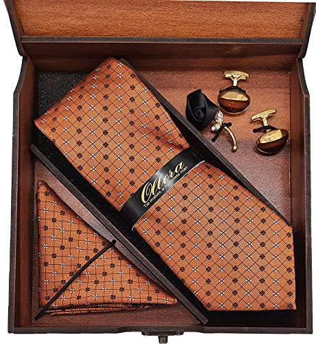 Ollera Men Jacquard Neck Tie Pocket Square with Brass Cufflinks and Lapel Pin in Premium Wooden Box Gift Set