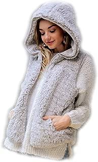 Silver Cream Vegan Sherpa Contrast Lining Hooded Fleece Zip-Up Vest, Small