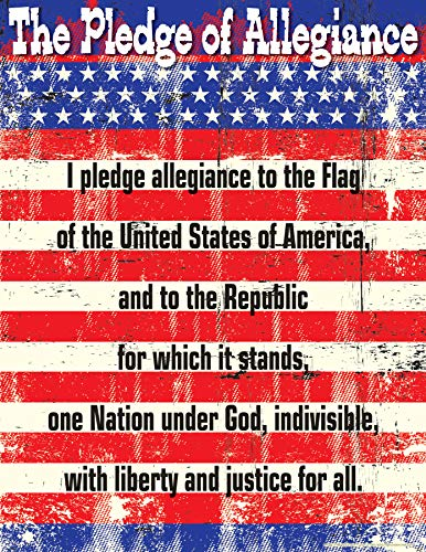 """Barker Creek Inspirational Chart, Pledge of Allegiance, Display The Pledge with This Colorful Chart, School, Library, Office, Home Learning Décor, 17"""" x 22"""" (1052)"""