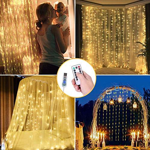 OUSFOT Cascata Luci Tenda Luminosa LED 3 x 3m 300 LED, IP64 8 Modalità di Illuminazione Matrimonio per Feste Finestra Patio Matrimonio ecc. (Bianco Caldo)