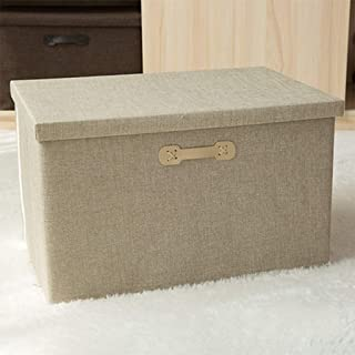 PPCP Storage Box Fabric Storage Box Storage Folding Cotton and Linen Clothes Storage Box (Color : Beige)