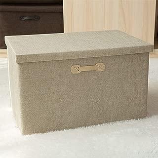PPCP Storage Box Fabric Storage Box Storage Folding Cotton and Linen Clothes Storage Box (Color : Beige)