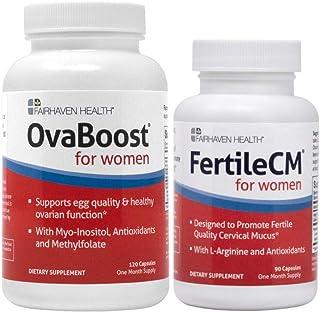 Ovaboost and FertileCM for Women Combo - 1 Month Supply - Fertility Supplements for Women