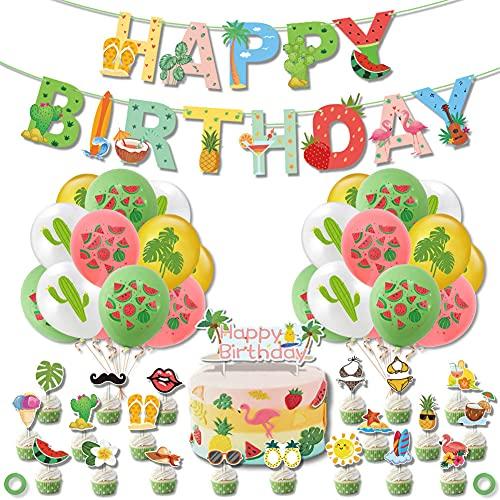 Nesloonp 49 Stück Hawaii Party Deko Set Geburtstagsfeier Dekorationen Set Folienballons Latex Party Ballons Sommer Strand Garten Party Dekoration (Wassermelone 47 Stück)