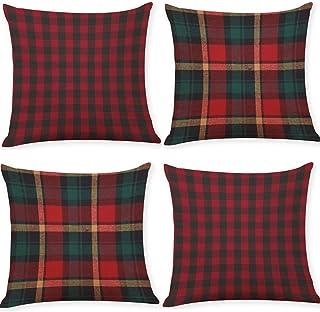 BJYHIYH 18 بوصة × 18 بوصة أغطية وسائد رمي من الكتان الجاموس فحص أغطية الوسائد للأريكة السرير أغطية الوسائد مجموعة من 4