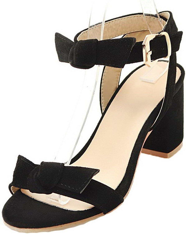 WeiPoot Women's Buckle Kitten-Heels Frosted Solid Open-Toe Sandals