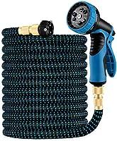 HBLIFE 超軽量 洗車 ホース 散水ホース 3倍に伸びる 高品質な布 銅制コネクタ 9パターンノズル 洗車 水やり 庭 大掃除 ガーデニング 園芸 ベランダ 花壇 水やり 伸縮 おしゃれ 魔法 マジカルホース ホースリール