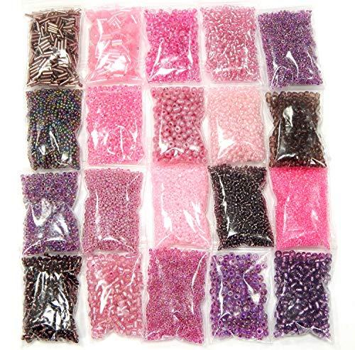 Roccailles Rocailles Perlen Violett Rosa Lila Pink Set 2mm 3mm 4mm 6mm Glasperlen 20 Pack 400g Seed Beads Schmuckperlen Perlenset AM23