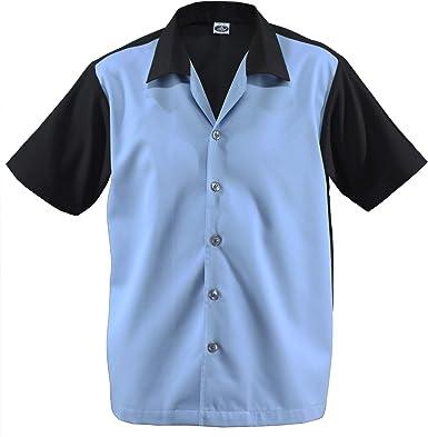 Camisa de bolos para hombre Rockabilly Teddy Boy de dos tonos Gabardine Lounge Fifties Vintage Retro años 50 y 50 Panel doble D670