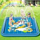 Peradix Tappetino Gioco d'Acqua per Bambini,Splash Play Mat Spruzzi all'Aperto Giochi d'Acqua Sprinkler di Festa con irrigatore Piscina Gonfiabile per Neonati e Bambini Piccoli