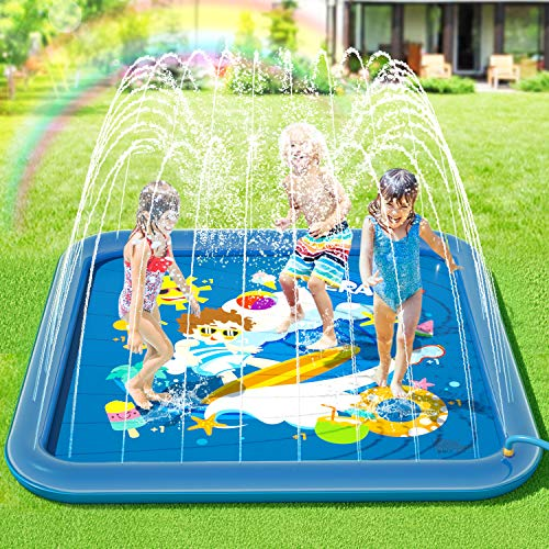 Peradix Sprinklers Pad - Water Splash Play Mat Pad Summer Outdoor/Garden/Beach Water Spray/Sprinkle Mat Pool Toys Games For Kids/Children/Toddler Activities (Non-inflatable)