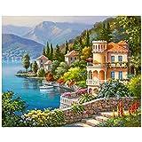 Fipart DIY Pintura Diamante Kit de Punto de Cruz artesanía, Pegatinas de Pared Sala de Estar decoración del hogar.Orilla del Lago (12X18inches / 30X45CM).
