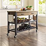 wood and metal kitchen island - Whalen Santa Fe Kitchen Cart with Metal Shelves and TV Stand Feature