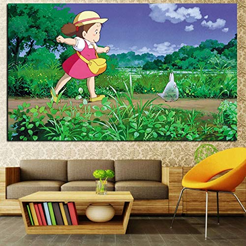 wZUN Impresión de Dibujos Animados japoneses animación Arte Hayao Miyazaki Gato Lienzo Pintura Cartel Sala de Estar decoración de Pared Pintura Decorativa 60x100 Sin Marco