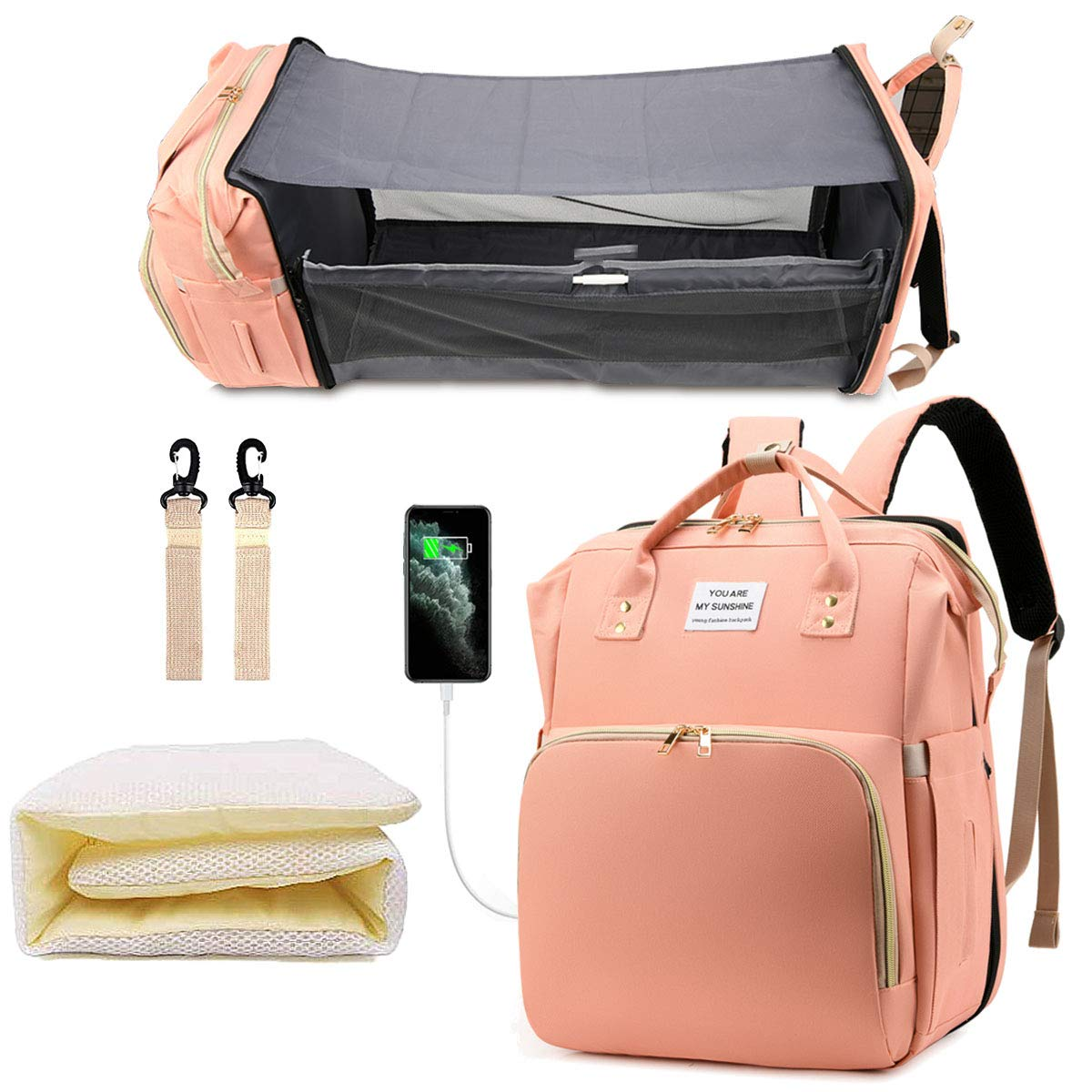Diaper Bag Backpack, Portable Sleeping Mummy Bag, Foldable Baby Bed Diaper Bags, Multifunction 3 in 1 Travel Back Pack Maternity Baby Changing Bags, Waterproof and Stylish, Pink