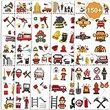 Qpout 150+ pezzi Pompiere tatuaggi temporanei per bambini, tatuaggio falso fuoco impermeabile pompiere Firetruck autoadesivo del tatuaggio per ragazzi ragazze festa di compleanno riempimento borsa