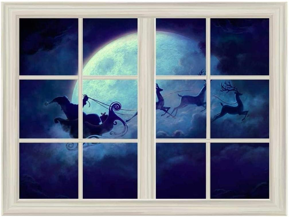 Santa Claus and Reindeer Flying Under Window View Mural Moon Outlet sale feature Special Campaign The