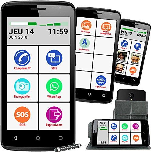 Mobiho-Essentiel Le SMART INITIAL 5 pouces, interface senior pour faire l'essentiel - Coach privé inclus, guide + pochette, appareil photo 8 Mp et 2 Mp au recto - réseau 4G - Débloqué tous opérateur