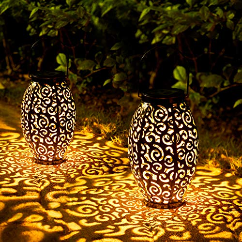 2 Pack Solar Lanterns, OxyLED Solar Garden Lights Outdoor, Hanging LED Lanterns Solar Powered with Handle Waterproof, Decorative Retro Metal Solar Lights for Table Patio Yard Pathway Walkway Christmas