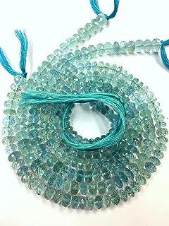 AAA FINA CALIDAD ~~ Perlas de piedras preciosas de aguamarina natural Perlas de rondelle de aguamarina facetadas Perlas de...
