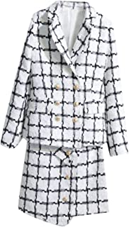 JSY Womens Double Breasted Tailored Collar Coat Tweed Classic Jacket Plaid Skirt Blazer Suit