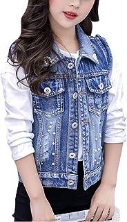 dc35e30baeb6 Yonglan Bambina Giacca Denim Senza Maniche Gilet in Jeans Slim Decorazione  di Perle Giubbotto in Jeans