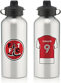 Fleetwood Town FC Official Personalized Aluminium Silver Water Bottle with Spring Hook (600ml) - Free Personalization