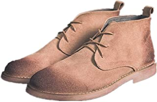 JIANFEI LIANG Men's Ankle Boots Chukka Boot Lace up Suede Round Toe Burnished Style Stitching Wear Resistant Vegan Rubber Sole Work or Casual Wear (Color : Grey, Size : 44 EU)