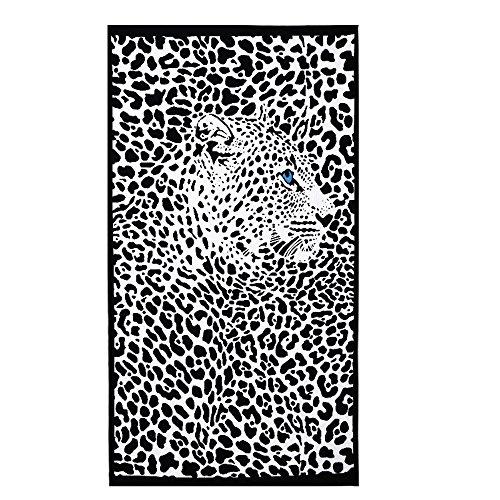 Telo mare, 100x 180cm, extra grande, asciugamano in microfibra per bagno o spiaggia con delfino stampato panther