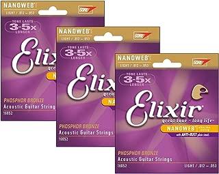 Elixir 16052 Nanoweb Light Phosphor Bronze Acoustic Guitar Strings (3-pack)