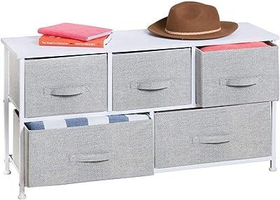 mDesign Comoda con 5 cajones - Organizador de armarios y vestidores en tela - Cajoneras para armarios, para el dormitorio o el cuarto de los niños - Color gris