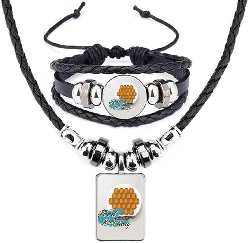 Hong Kong Egg Puff China Art Deco Gift Fashion Leather Necklace Bracelet Jewelry Set