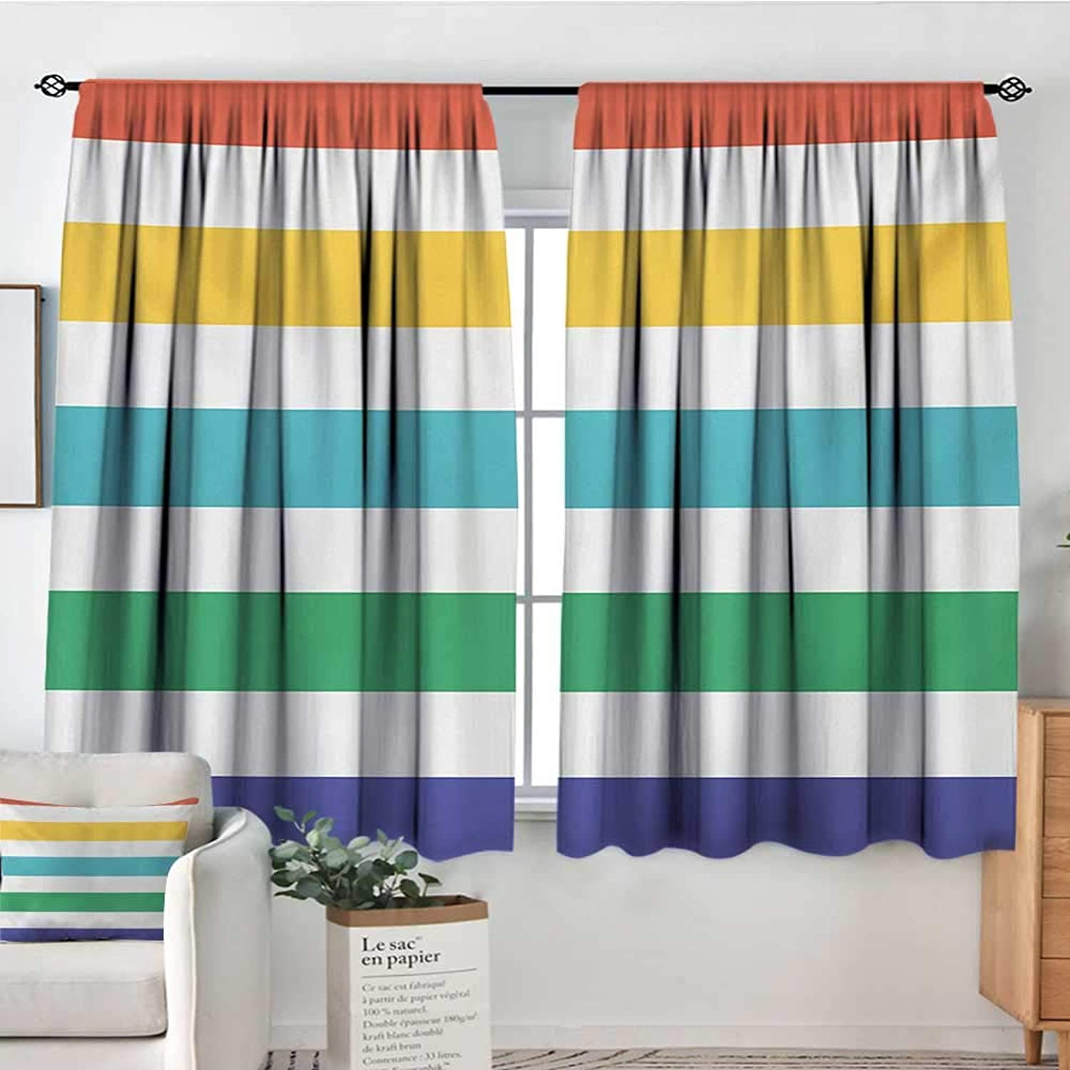Decor Room Darkening Wide Curtains Striped,Rainbow colord and White Fun Horizontal Lines Kids Room Red Yellow bluee Green Art,Multicolor,Insulating Room Darkening Blackout Drapes 42 x63