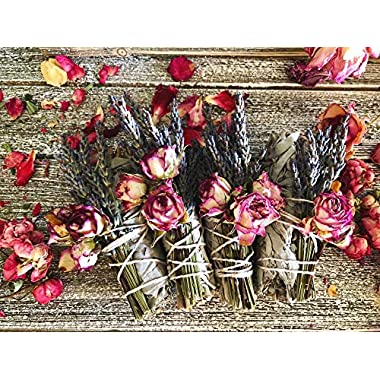 Rose and Lavender Goddess Floral Smudge Stick