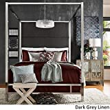 Inspire Q Evie Chrome Metal Canopy Bed with Linen Panel adboard by Bold Charcoal Queen