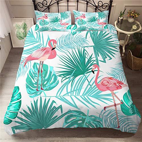 Treer Bettwäsche-Set 3 teilig, Microfaser Drucken Reißverschluss Bettbezug +2 x Kissenbezug 50x75cm 3D Tropischer Flamingo Design Warme Bettwäsche (3pcs-220x240+50x75cm,Blätter)
